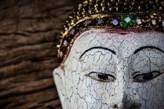 Close-up of a wood Buddha Royalty Free Stock Image