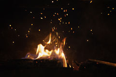 Close up wood burning in the fireplace Stock Photography