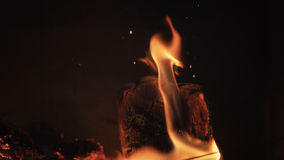 Close up wood burning in the fireplace Royalty Free Stock Photography