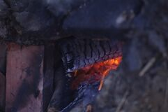 Close up of wood fire Royalty Free Stock Photography