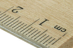 Close up wood ruler. Close-up of a wood ruler in centimetre royalty free stock photo
