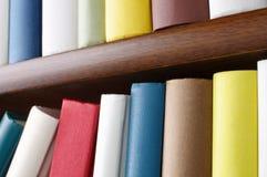 Close up of wooden bookshelf. Royalty Free Stock Photos