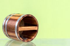 Close up of wooden bucket with coins. Stock Photos