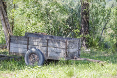 Close-up of wooden cart in forest Royalty Free Stock Photography