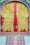 Close up wooden carving door in Chinese temple Royalty Free Stock Photos