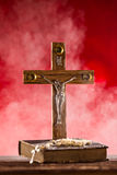 Close-up of wooden Christian cross. Stock Photography