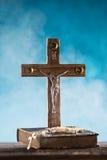 Close-up of wooden Christian cross. Stock Photos