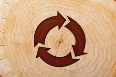Close-up wooden cut and recycle symbol Royalty Free Stock Photos