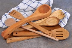 The wooden cutlery royalty free stock photos
