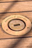 Close up of wooden deck boat Stock Photo