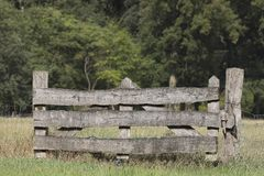 Close-up of a wooden fence in a meadow stock photography
