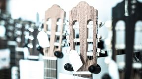 Close-up of wooden fretboard of guitar. Close up of wooden fretboard of guitar in store stock photography