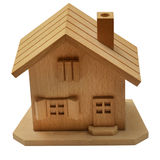 Close up of Wooden house. Isolated on white background by clipping path Royalty Free Stock Photography