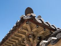 Close Up of the Wooden, Painted Eaves of the Gyengbokgung Palace in Seoul from Below royalty free stock images