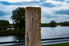 A close-up of a wooden pole royalty free stock image