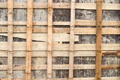 Close up of wooden scaffolding for repairing a stadium Stock Photography