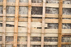 Close up of wooden scaffolding for repairing a stadium Stock Photo