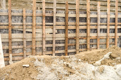 Close up of wooden scaffolding for repairing a stadium Royalty Free Stock Photo