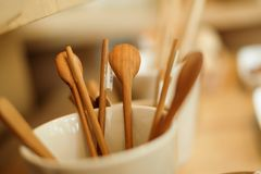 Wooden spoon with warm tone stock photos