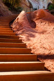 Close up of wooden stairs on Le Sentier des Ocres in Roussillon Stock Images