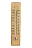 Close-up wooden thermometer scale isolated white background. Royalty Free Stock Photos
