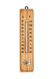 Close-up wooden thermometer scale isolated on white background Royalty Free Stock Images