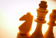 Close-up of wooden vintage chess pieces Royalty Free Stock Image