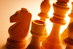 Close-up of wooden vintage chess pieces Stock Photo