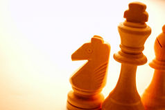 Close-up of wooden vintage chess pieces Royalty Free Stock Photo
