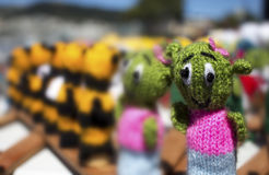 Close up group of finger puppets. Group of woolen finger puppets. Close up.selective focus Royalty Free Stock Photo