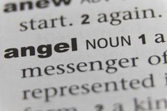 Close up of the word Angel stock images