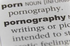 Close up of the word pornography.  Royalty Free Stock Photos