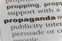 Close up of word propaganda.  stock photo