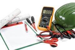 Close Up Of Work Equipment On Electrical Installations A Whi Stock Photo
