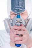 Close-up of worker with airbrush gun Stock Photos