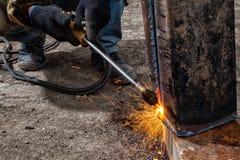 Builder weld metal pipe stock photos