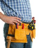 Close-up on worker's toolbelt Royalty Free Stock Image