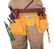 Close-up on worker's toolbelt Royalty Free Stock Photography