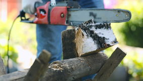 Close-up of working with chainsaw. Close-up of unrecognizable man using chainsaw to sawn a birch log stock video