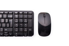 Close-up of workplace with black keyboard and mouse Royalty Free Stock Photos