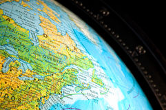 Close-up of a world map. Close - up of the planet, globe Royalty Free Stock Photography