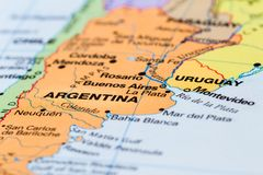 Argentina on a map. Close up of a world map with Argentina in focus royalty free stock image