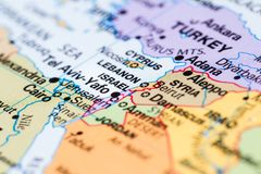Israel on a map Royalty Free Stock Photos