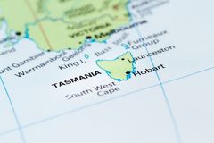 Tasmania on a map. Close up of a world map with the island of Tasmania in focus royalty free stock photo