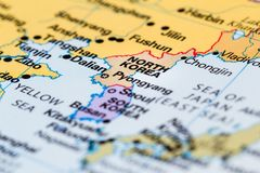 North Korea on a map. Close up of a world map with North Korea in focus royalty free stock photo