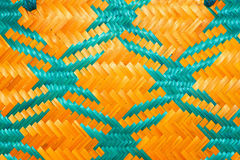 Close up woven bamboo pattern handbags and basketry passing on the community indentity Royalty Free Stock Photography