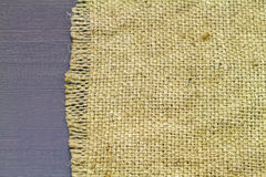 Close up woven rope texture, sacks doormat on black wooden backg Stock Photography