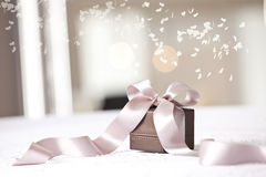 Close up of wrapped Christmas gift. Holidays and celebration concept. Christmas background Royalty Free Stock Photos