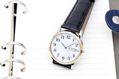 Wrist watch with leather strap Stock Images