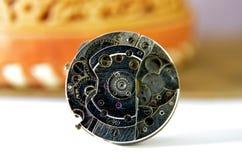Close up of wrist watch mechanism. Technology Theme Royalty Free Stock Image